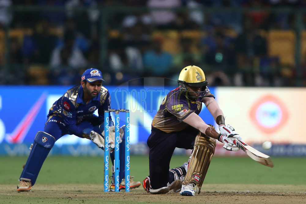 Suryakumar Yadav of the Kolkata Knight Riders slog sweeps a delivery for six during the 2nd qualifier match of the Vivo 2017 Indian Premier League between the Mumbai Indians and the Kolkata Knight Riders held at the M.Chinnaswamy Stadium in Bangalore, India on the 19th May 2017<br /> <br /> Photo by Shaun Roy - Sportzpics - IPL