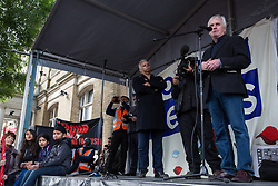 Southall, UK. 27th April 2019. Shadow Chancellor John McDonnell addresses members of the local community and supporters at a rally outside Southall Town Hall to honour the memories of Gurdip Singh Chaggar and Blair Peach on the 40th anniversary of their deaths. Gurdip Singh Chaggar, a young Asian boy, was the victim of a racially motivated attack whilst Blair Peach, a teacher, was killed by the Metropolitan Police's Special Patrol Group during a peaceful march against a National Front demonstration.