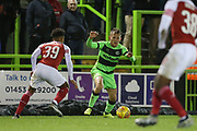 Forest Green Rovers George Williams(11) takes on Arsenal's Cohen Bramall(39) during the EFL Trophy group stage match between Forest Green Rovers and U21 Arsenal at the New Lawn, Forest Green, United Kingdom on 7 November 2018.