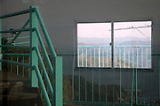 window reflection with a  mountain view seen through an other window Japan Chiba prefecture
