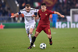 December 5, 2017 - Rome, Italy - Diego Perotti of Roma is challenged by Maksim Medvedev of Qarabag during the UEFA Champions League match between Roma and Qarabag at Stadio Olimpico, Rome, Italy on 5 December 2017  (Credit Image: © Giuseppe Maffia/NurPhoto via ZUMA Press)