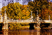 Image of the suspension bridge at Boston Public Gardens, Boston, Massachusetts, New England