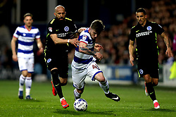 Ryan Manning of Queens Park Rangers takes on Bruno Saltor of Brighton & Hove Albion - Mandatory by-line: Robbie Stephenson/JMP - 07/04/2017 - FOOTBALL - Loftus Road - Queens Park Rangers, England - Queens Park Rangers v Brighton and Hove Albion - Sky Bet Championship