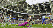 Chelsea's John Terry scores and opens the scoring with Goalkeeper Hugo Lloris of Tottenham Hotspur can only look on during the Capital One Cup Final between Chelsea and Tottenham Hotspur at Wembley Stadium, London, England on 1 March 2015. Photo by Phil Duncan.