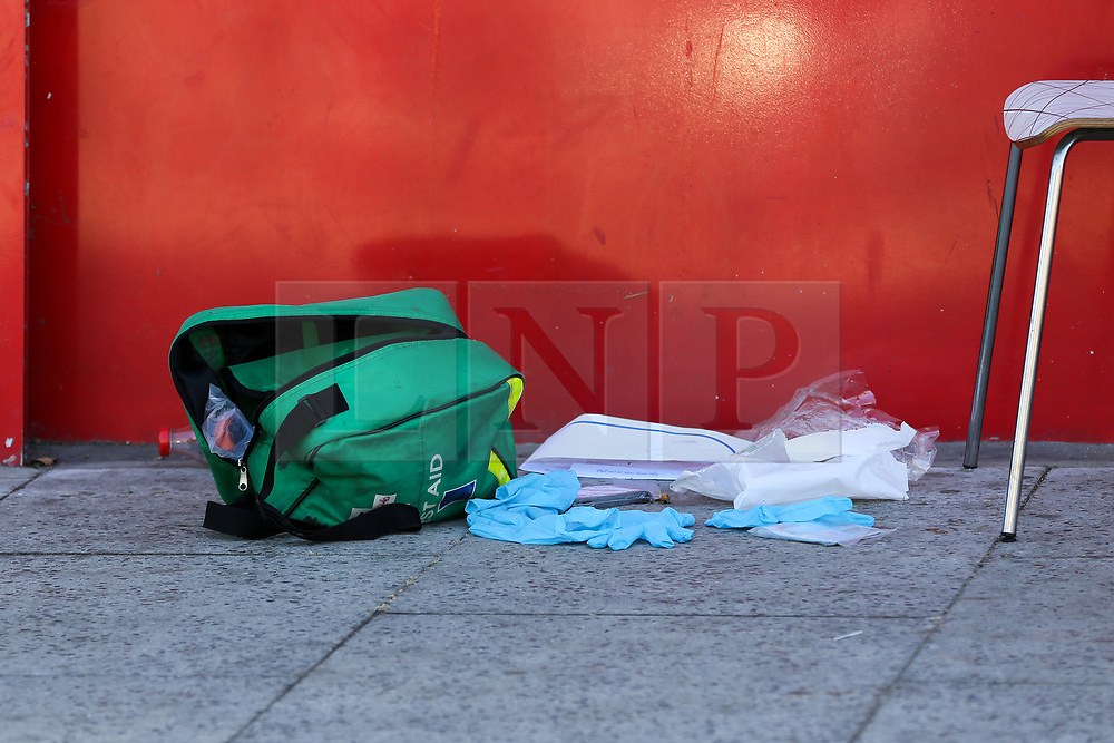 © Licensed to London News Pictures. 14/09/2019. London, UK. A medical kit Metro chicken shop on Downham way. <br /> A crime scene on Downham Way in Lewisham as a murder investigation has been launched by Met Police after a 34 years old man died in hospital. The victim suffered stab and head wounds on Friday 13 Sept following a fight inside Metro chicken shop on Downham way. A 51 year old man was also injured in the fight and has since been discharged from hospital and subsequently arrested in suspicion murder. Two other men aged 40 and 46 have also been arrested on suspicion murder. Photo credit: Dinendra Haria/LNP