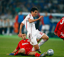 Athens, Greece - Wednesday, May 23, 2007: AC Milan's Kaka tackled by Liverpool's Javier Mascherano during the UEFA Champions League Final at the OACA Spyro Louis Olympic Stadium. (Pic by David Rawcliffe/Propaganda)