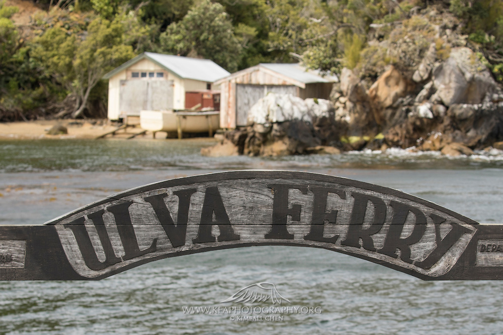Ulva Ferry sign above the dock, at Stewart Island, New Zealand
