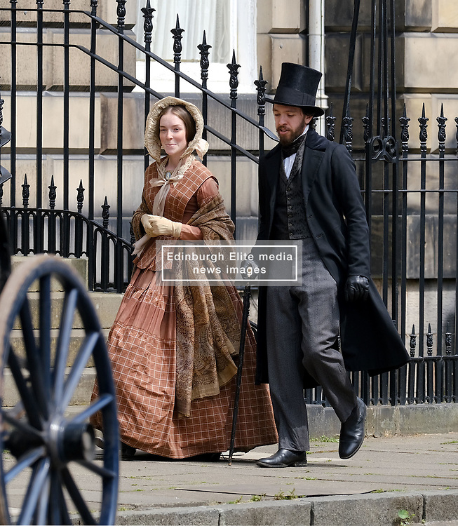 """Moray Place in Edinburgh's Georgian old town was turned into 19th century London for Julian Fellowes' new ITV show """"Belgravia"""".<br /> <br /> Pictured: Extras chat between takes<br /> <br /> Alex Todd 