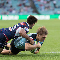 Ned Hanigan scores a try for the Waratahs during the super rugby match between Waratahs and the Rebels Allianz Stadium 21 May 2017(Photo by Mario Facchini -Steve Haag Sports)