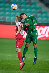 Matic Vrbanec, Vitja Valencic during football match between NK Olimpija Ljubljana and NK Aluminij in semi final of Slovenian Cup 2018/19, on April 23, 2019 in Stozice Stadium, Ljubljana, Slovenia. Photo by Morgan Kristan