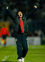 ARGENTINA win over URUGUAY at a soccer match, and its qualify for the FIFA World Cup  South Africa 2010 <br /> October 14, 2009<br /> Argentina's coach Diego Maradona celebrates Mario Bolatti's goal against Uruguay in their 2010 World Cup qualifying soccer match in Montevideo October 14, 2009. Argentina won 1-0 and qualified for the 2010 World Cup.<br /> © PikoPress