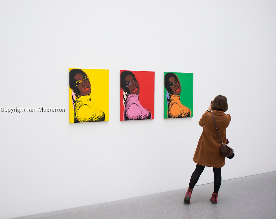 Andy Warhol paintings at Pinakothek Moderne art museum in Munich Germany