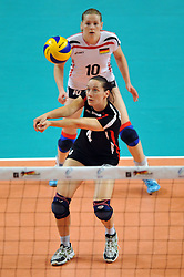 10.10.2010, Bremen Arena, Bremen, GER, Vorbereitung Volleyball WM Frauen 2010, Laenderspiel Deutschland ( GER ) vs. Tuerkei ( TUR ), im Bild Kerstin Tzscherlich (#4 GER), Anne Matthes (#10 GER). EXPA Pictures © 2010, PhotoCredit: EXPA/ nph/   Conny Kurth+++++ ATTENTION - OUT OF GER +++++