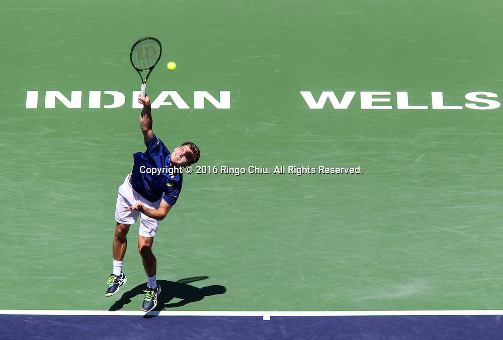 David Goffin of Belgium in action against Marin Cilic of Croatia during the men singles quaterfinal of the BNP Paribas Open tennis tournament on Thursday, March 17, 2016 in Indian Wells, California.  Goffin won 7-6, 6-2.(Photo by Ringo Chiu/PHOTOFORMULA.com)<br /> <br /> Usage Notes: This content is intended for editorial use only. For other uses, additional clearances may be required.