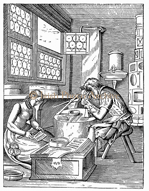 The Clasp Maker's Workshop. From 16th century woodcut by Jost Amman.
