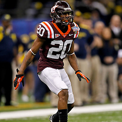 January 3, 2012; New Orleans, LA, USA; Virginia Tech Hokies cornerback Jayron Hosley (20) against the Michigan Wolverines during the second quarter of the Sugar Bowl at the Mercedes-Benz Superdome.  Mandatory Credit: Derick E. Hingle-US PRESSWIRE