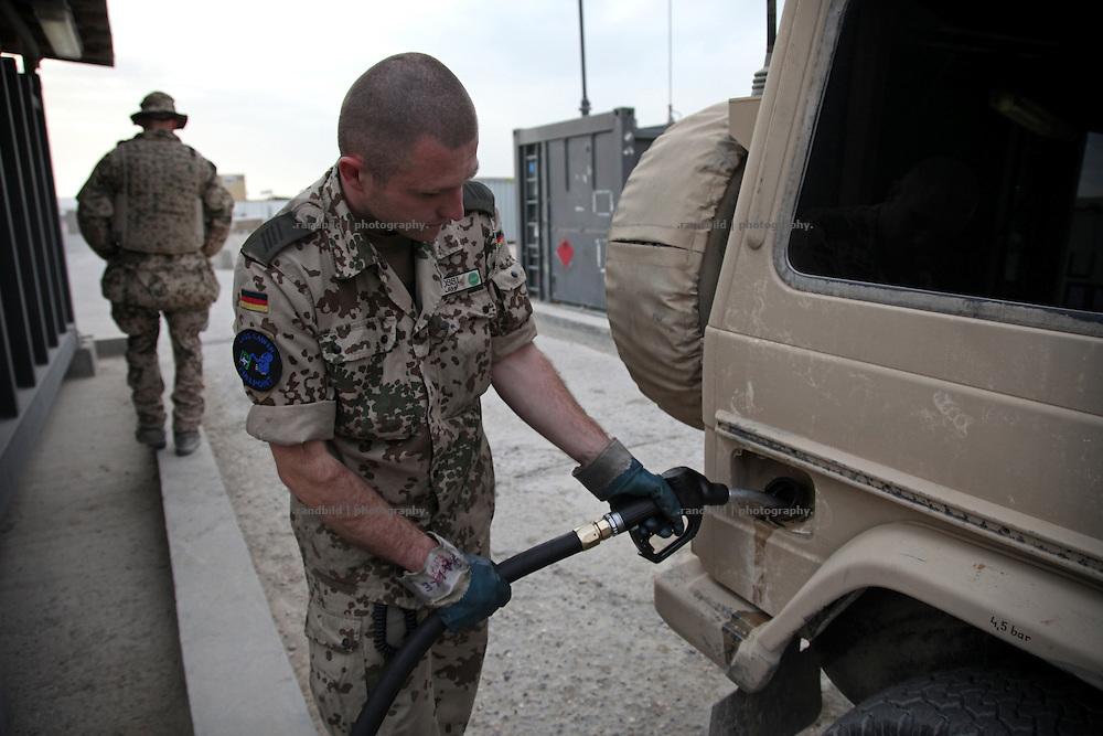 A gas station to fuel military vehicels inside ISAF Camp Marmal near Mazar-e Sharif, Afghanistan.