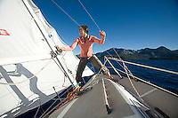 Melanie Tavesieffe sailing on Lake Tahoe, CA.