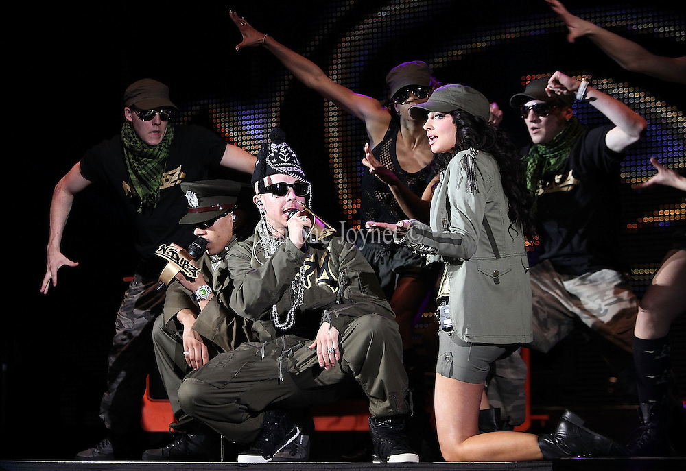 (L-R) Fazer, Dappy and Tulisa of N-Dubz perform live at Hammersmith Apollo on April 17, 2010 in London, England.  (Photo by Simone Joyner)