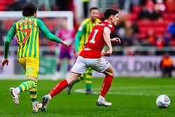 Callum O'Dowda of Bristol City is challenged by Filip Krovinovic of West Brom - Rogan/JMP - 22/02/2020 - Ashton Gate Stadium - Bristol, England - Bristol City v West Bromwich Albion - Sky Bet Championship.