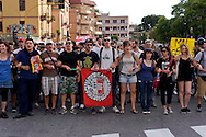 Roma 3 Giugno 2015<br /> Momenti di tensione al presidio anti-rom a Boccea, a Roma, cui hanno partecipato il movimento di estrema destra Casapound e alcuni comitati di quartiere. Una iniziativa contestata da antifascisti, e movimenti per la casa. Boccea è il quartiere dove mercoledì 27 maggio un'auto guidata da un 17enne  rom, ha investito nove persone e ucciso la 44enne filippina Corazon Abordo. La manifestazione degli antifascisti contro Casapound<br /> Rome June 3, 2015<br /> Moments of tension to the protest anti-Roma Boccea in Rome, attended by the far-right movement Casapound and some neighborhood committees. An initiative opposed by anti-fascists, and movements for the house. Boccea is the neighborhood where Wednesday, May 27 car driven by a 17 year old Roma, has invested nine people and killed the 44 year old Filipino Corazon Abordo. The demostration of the  anti-fascists against  the far-right movement Casapound