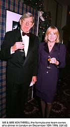 MR & MRS KEN TYRRELL, the formula one team owner, at a dinner in London on December 10th 1996.LUK 63