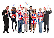 British patriots dressed up in Union Jack wear isolated on white