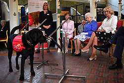 Queen Elizabeth II and the Duchess of Cornwall watch a demonstration of a dog from the charity Medical Detection Dogs sniffing out Parkinsons disease during the 10th anniversary celebration of the charity at the Royal Mews, in London.