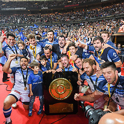 Team of Castres celebrate the victory with the trophy during the French Final Top 14 match between Montpellier and Castres at Stade de France on June 2, 2018 in Paris, France. (Photo by Anthony Dibon/Icon Sport)
