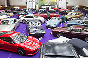 UNITED KINGDOM, London: 24 April 2018 A general view of a very impressive selection of classic vintage cars in The Royal Horticultural Halls, Westminster. The car forms part of the Spring Classics: An Important Auction of Fine Historic Automobiles at The Royal Horticultural Halls, Westminster. The auction will see a collection of privately owned cars be auctioned this evening April 24th 2018. Rick Findler  / Story Picture Agency
