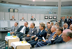 May 24, 2019, Cape Canaveral, Florida, U.S.: File: On May 25, 1961, President JOHN F. KENNEDY addressed a joint session of Congress to announce his decision to go to the Moon. In the address, called the Special Message to Congress on Urgent National Needs, Kennedy outlines his decision to send American astronauts to the Moon by the end of the decade. Listen to the full speech. In this image from 1962, Kennedy attends a briefing given by Major Rocco Petrone during a tour of Blockhouse 34 at the Cape Canaveral Missile Test Annex. Also in attendance are Vice-President Lyndon Johnson and Secretary of Defense Robert Mcnamara. (Credit Image: © NASA/ZUMA Wire/ZUMAPRESS.com)