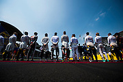 July 21-24, 2016 - Hungarian GP, Driver's stand for the national anthem. Pictured are Kevin Magnussen, (DEN) Renault , Jolyon Palmer (GBR), Renault, Esteban Gutierrez (MEX), Haas F1, Sergio Perez (MEX), Force India, Nico Hulkenberg (GER), Force India, Fernando Alonso (SPA), McLaren Honda, Daniel Ricciardo (AUS), Red Bull, Nico Rosberg  (GER), Mercedes , Max Verstappen, Red Bull