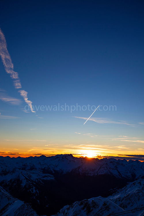 Sunset at Pic du Midi de Bigorre, a 2877m mountain in the French Pyrenees, home to an astronomical observatory and visitors centre. The observatory is acccessible from the village of La Mongie by cablecar. Tourists often visit in time for the spectacular sunset across the mountains.