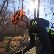Carl Reglar, Mount Vernon, in action during a hill climb in the Men's Open race during the The 3rd Annual Newtown Cyclocross Race in the Fairfield Hills and the Town's Municipal Center. Newtown, Connecticut, USA. 15th November 2015. Photo Tim Clayton