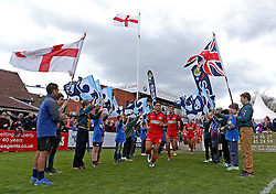 Bristol Rugby run out for the start of their game with Bedford Blues - Mandatory by-line: Robbie Stephenson/JMP - 23/04/2016 - RUGBY - Goldrington Road - Bedford, England - Bedford Blues v Bristol Rugby - Greene King IPA Championship