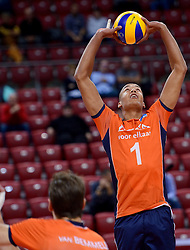 Nimir Abdelaziz #1 during volleyball match between National teams of Netherlands and Slovenia in Playoff of 2015 CEV Volleyball European Championship - Men, on October 13, 2015 in Arena Armeec, Sofia, Bulgaria. Photo by Ronald Hoogendoorn / Sportida