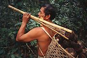 Ese'eja Indian 'Castañera' /Brazil Nut Collector<br />Heath River, BOLIVIA/PERU Border<br />Amazon Rain Forest.  South America