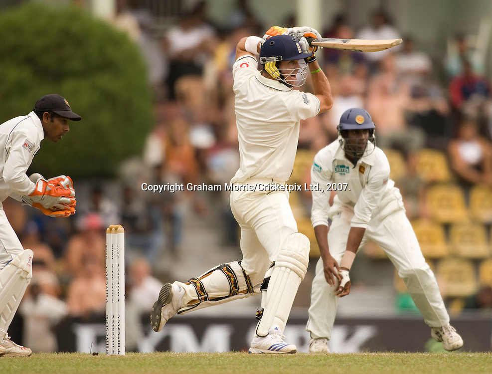 Kevin Pietersen off the bowler of Muttiah Muralitharan during the first Test Match between Sri Lanka and England at the Asgiriya Stadium, Kandy. Photograph © Graham Morris/cricketpix.com (Tel: +44 (0)20 8969 4192; Email: sales@cricketpix.com)