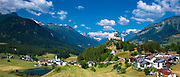 Tarasp Castle and the villages of Fontana and Tarasp in the Lower Engadine Valley, Switzerland