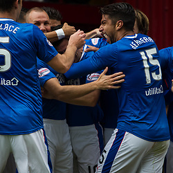 Rangers celebrate after opening the scoring, Motherwell v Rangers, Scottish Premiership, 6 August 2017 . (c) Adam Oliver | sportPix.org.uk