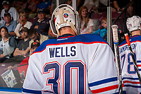 PENTICTON, CANADA - SEPTEMBER 8: Dylan Wells #30  of Edmonton Oilers exits the ice against the Calgary Flames on September 8, 2017 at the South Okanagan Event Centre in Penticton, British Columbia, Canada.  (Photo by Marissa Baecker/Shoot the Breeze)  *** Local Caption ***