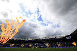 Pyrotechnics around the ground before the Premier League match at the King Power Stadium, Leicester