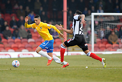 Bristol Rovers' Daniel Leadbitter is challenged by Grimsby's Nathan Arnold - Photo mandatory by-line: Neil Brookman/JMP - Mobile: 07966 386802 - 14/02/2015 - SPORT - Football - Cleethorpes - Blundell Park - Grimsby Town v Bristol Rovers - Vanarama Football Conference