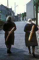 two old friends walking with baguettes