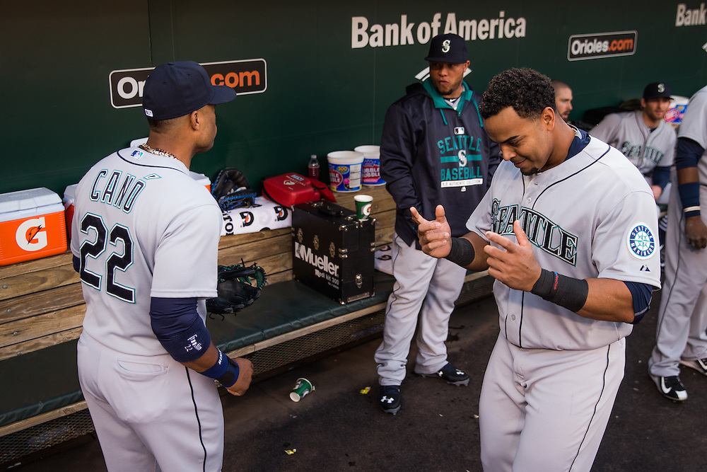 BALTIMORE, MD - MAY 20:  Robinson Cano #22 and Nelson Cruz #23 of the Seattle Mariners look  on before the game against the Baltimore Orioles at Oriole Park at Camden Yards on May 20, 2015 in Baltimore, Maryland. (Photo by Rob Tringali) *** Local Caption *** Robinson Cano;Nelson Cruz