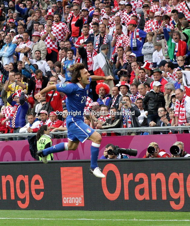 14.06.2012. Poznan, Poland.  EURO 2012, FOOTBALL EUROPEAN CHAMPIONSHIP, Italy versus Croatia.  ANDREA PIRLO (ITA) celebrates scoring the goal from a free kick for Italy  The game ended in a 1-1- draw.
