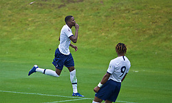 KIRKBY, ENGLAND - Saturday, August 10, 2019: Tottenham Hotspur's Shilow Tracey celebrates scoring the fourth goal during the Under-23 FA Premier League 2 Division 1 match between Liverpool FC and Tottenham Hotspur FC at the Academy. (Pic by David Rawcliffe/Propaganda)