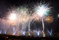 August 5, 2017 - Annecy, France - 87th edition of the ''Fête du Lac'' in Annecy, France, on 05 August 2017, called ''Dance of Fire'' and created by Portuguese Vitor Machado. The ''Fête du Lac'' firework display is one of the largest in Europe and has attracted more than one hundred thousand spectators. (Credit Image: © Nicolas Liponne/NurPhoto via ZUMA Press)