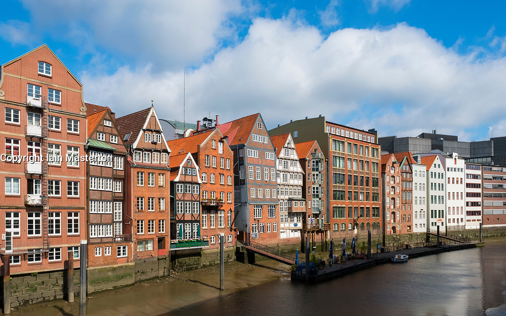 Historic Nikolaifleet district in Hamburg, Germany