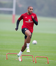 CARDIFF, WALES - Wednesday, October 10, 2012: Wales' captain Ashley Williams during a training session at the Vale of Glamorgan ahead of the 2014 FIFA World Cup Brazil Qualifying Group A match against Scotland. (Pic by David Rawcliffe/Propaganda)